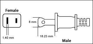 USA Polarized NEMA 1-15P 2 Pin 10 Amp