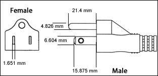 Japan JIS C 8303 Class Class I 3 Prong 15 Amp
