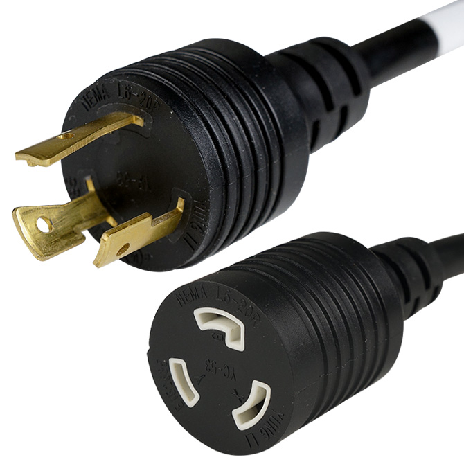 NEMA Locking Extension Cord - L6-20 Plug to L6-20 Connector 0.9 ...
