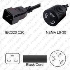 plug adapter iec 60320 c20 plug to l6-30 connector 1 foot 20a/250v 12/3 sjt