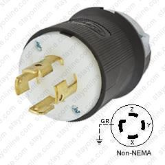 HUBBELL HBL3431GCB AC Plug Non-NEMA 30a 4wire 250v on 50a plug wiring, a 4 prong plug wiring, 13a plug wiring, 15a plug wiring, nema l14-30p plug wiring, 30 amp generator plug wiring, dryer plug wiring, 20a plug wiring, 10a plug wiring,