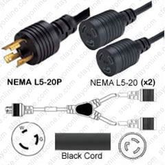 Iron Box # IBX-480110-05 20A//125V 12//3 AWG NEMA L5-20P to 2 x L5-20R Y Splitter Cord 5 Foot