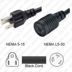 Plug Adapter Nema 5 15 Plug To L5 30 Connector 1 Foot 15a125v 123 Sjt