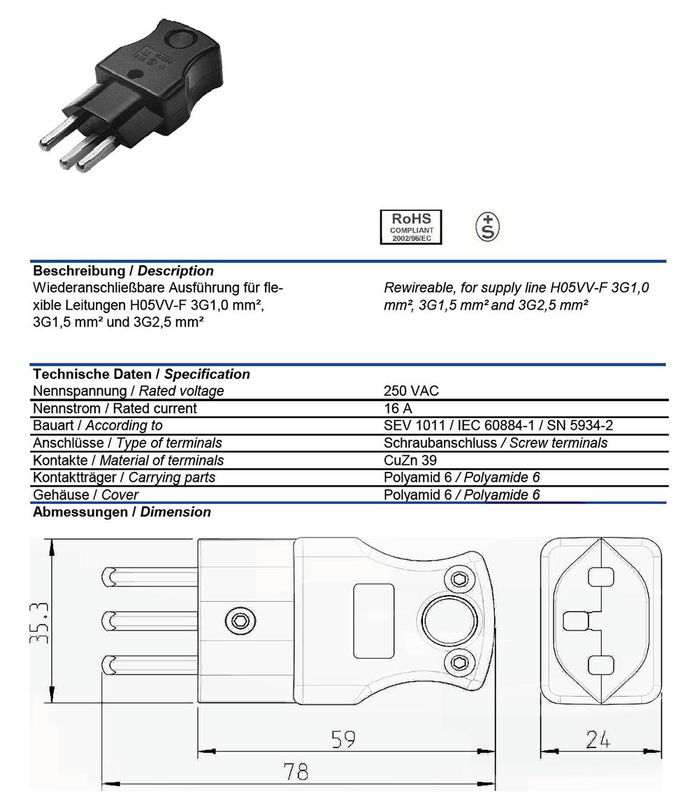 Ac Male Power Plug Swiss Sev1011 T23 16 Amp 250 Volt Black Straight Iec Receptacle Wiring Diagram Entry