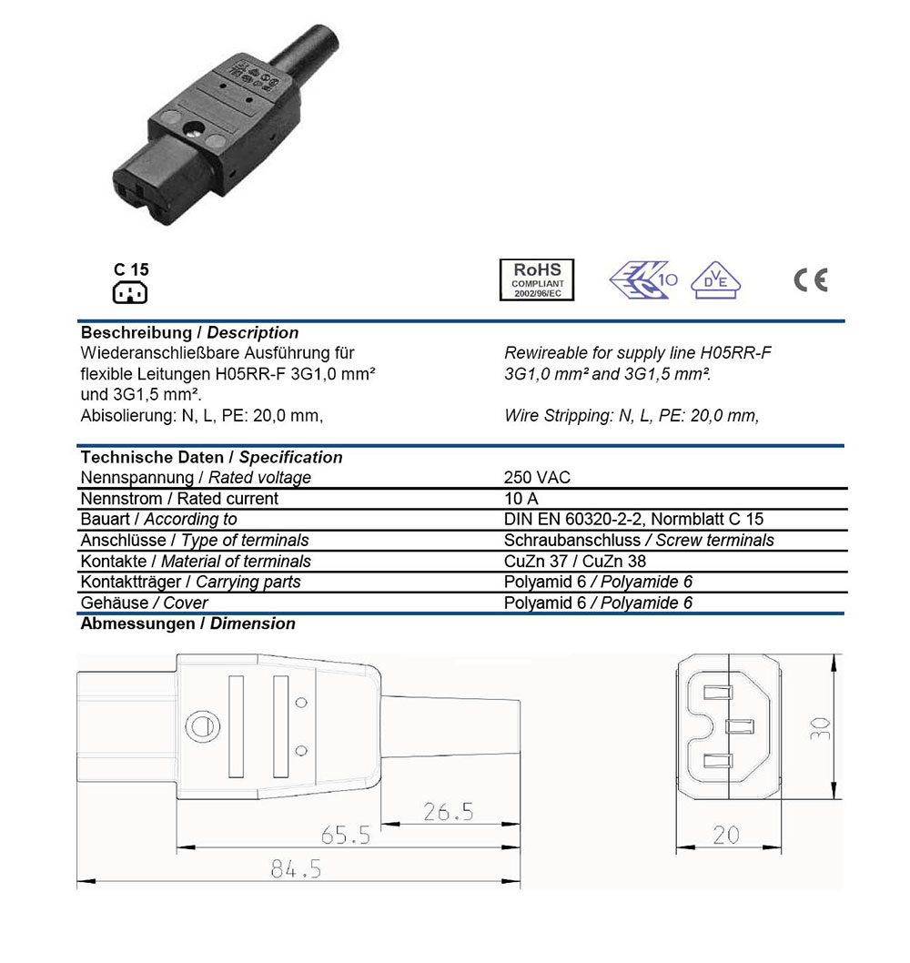 Ac Connector Iec 60320 C15 Female 10 Amp Straight Entry Vde Iec320 C14 Wiring Power Plug C13 Computer Socket