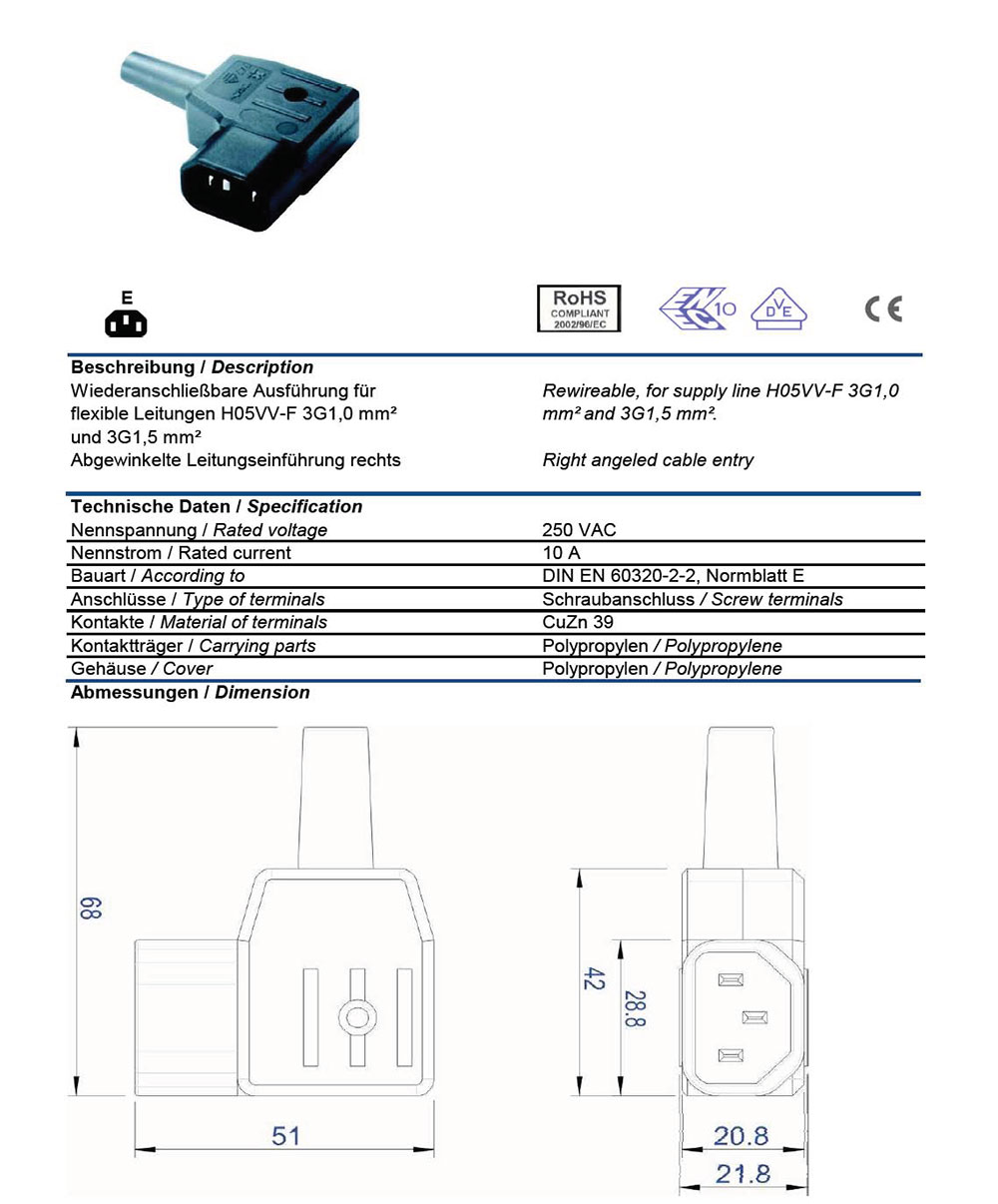Ac Plug Iec 60320 C14 10 Amp Male Right Angle Vde Receptacle Wiring Diagram