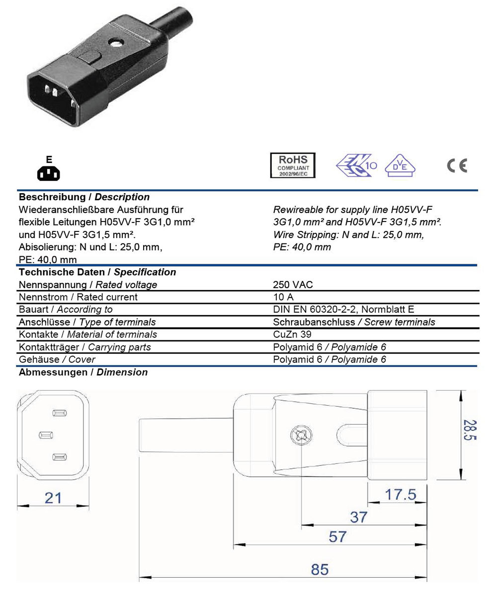 Wiring Diagram For Iec Plug Ac 60320 C14 10 Amp Male Straight Entry Vde