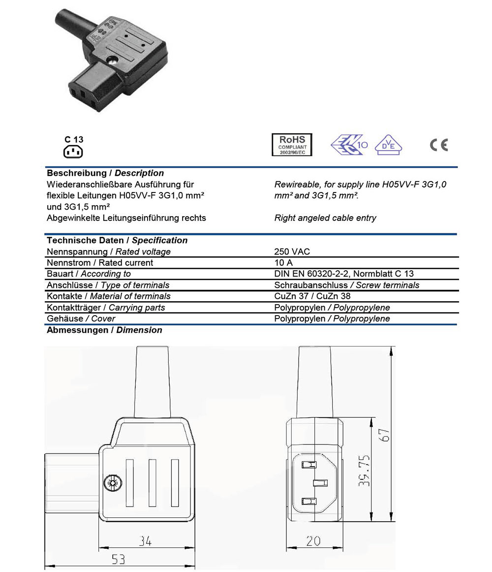 Ac Connector Iec 60320 C13 Female 10 Amp Right Angle Vde Wiring Diagram For Plug