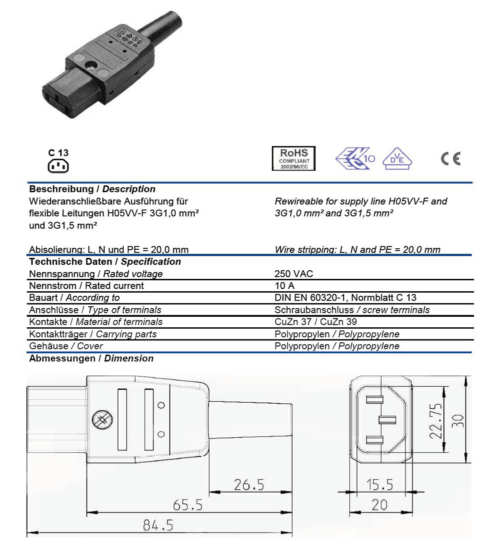 Ac Connector Iec 60320 C13 Female 10 Amp Straight Entry Vde Wiring Diagram For Plug